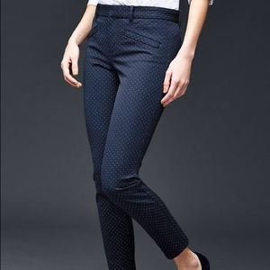 Gap Skinny Ankle Pants In Navy with Polka Dots
